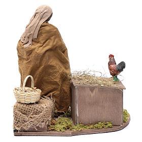 Donna che nutre galline movimento 30 cm presepe napoletano s4
