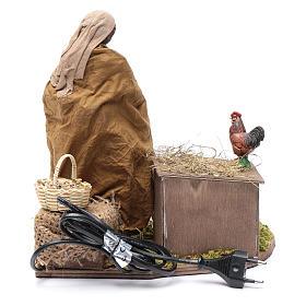 Donna che nutre galline movimento 30 cm presepe napoletano s5