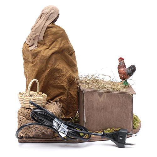 Donna che nutre galline movimento 30 cm presepe napoletano 5