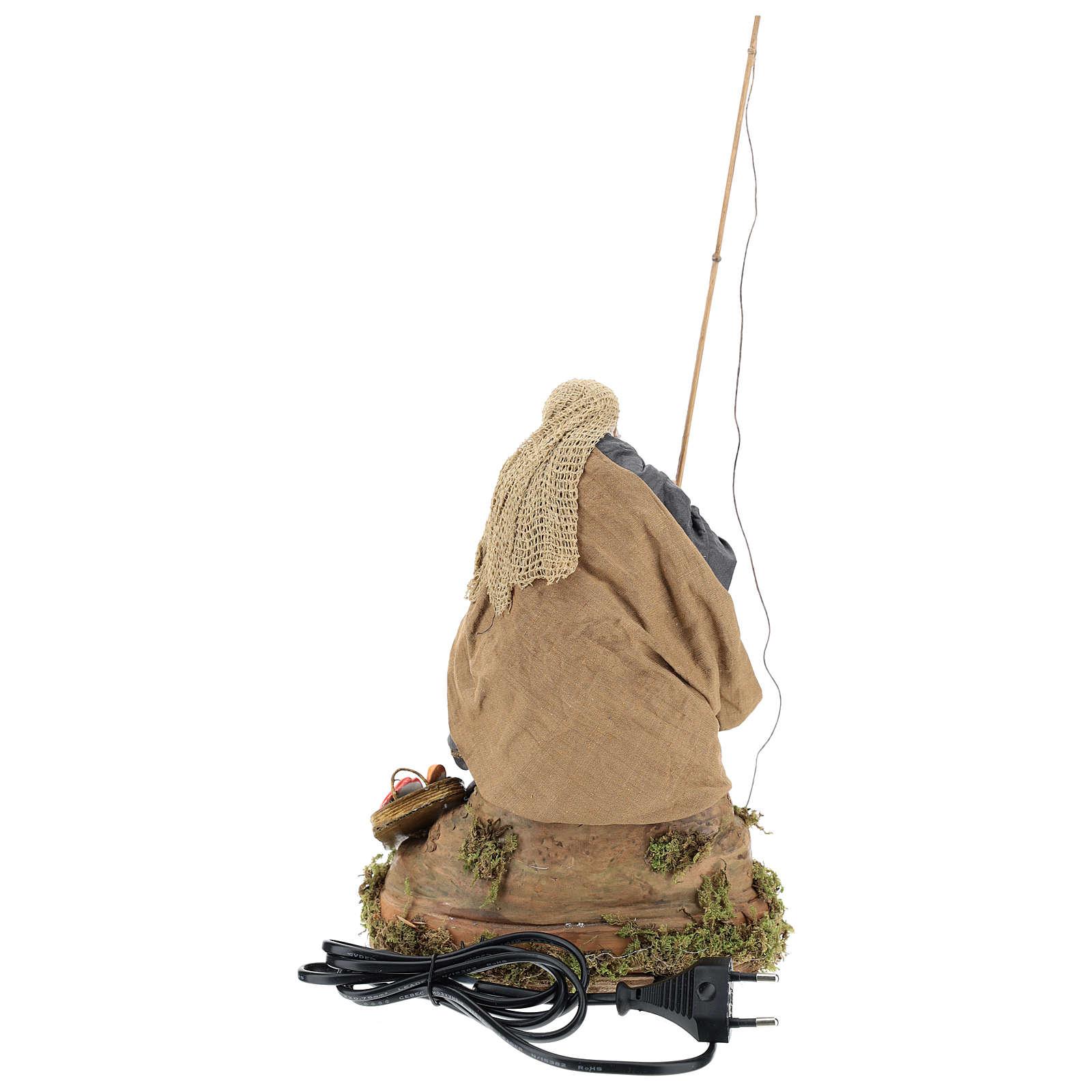 Pescatore su scoglio movimento 30 cm presepe napoletano 4