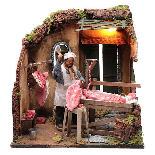 Neapolitan nativity scene butcher with meat 24 cm 1