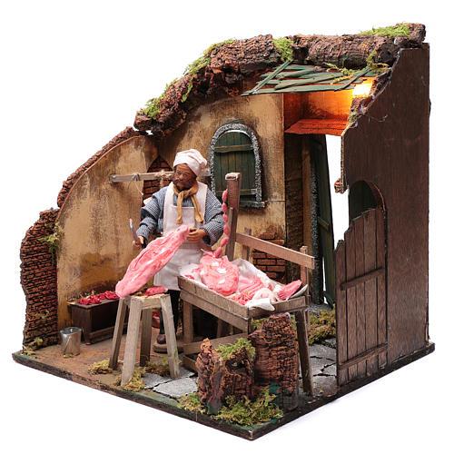 Neapolitan nativity scene butcher with meat 24 cm 2