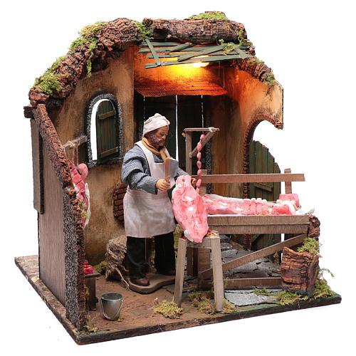 Neapolitan nativity scene butcher with meat 24 cm 3