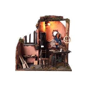 Neapolitan nativity scene moving carpenter 24 cm s1