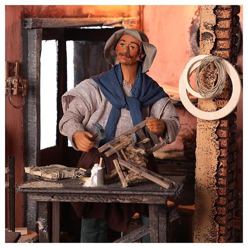 Neapolitan nativity scene moving carpenter 24 cm 2