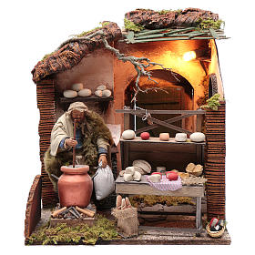 Neapolitan nativity scene moving setting with cheeses 24 cm s1