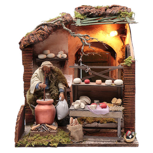 Neapolitan nativity scene moving setting with cheeses 24 cm 1