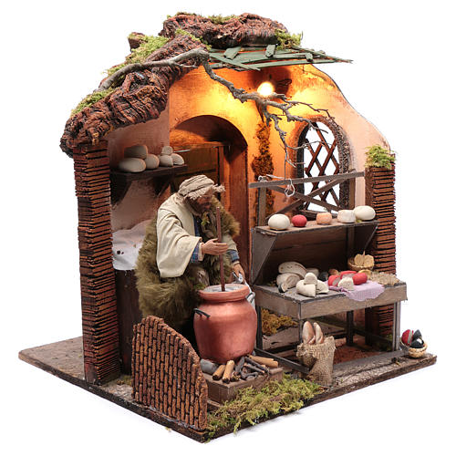Neapolitan nativity scene moving setting with cheeses 24 cm 3