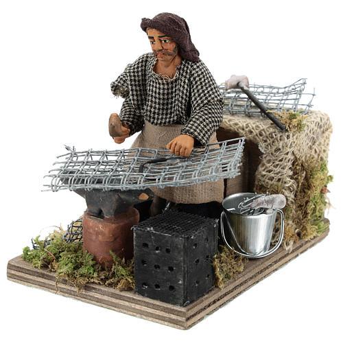 Moving blacksmith 10 cm Neapolitan Nativity Scene 3
