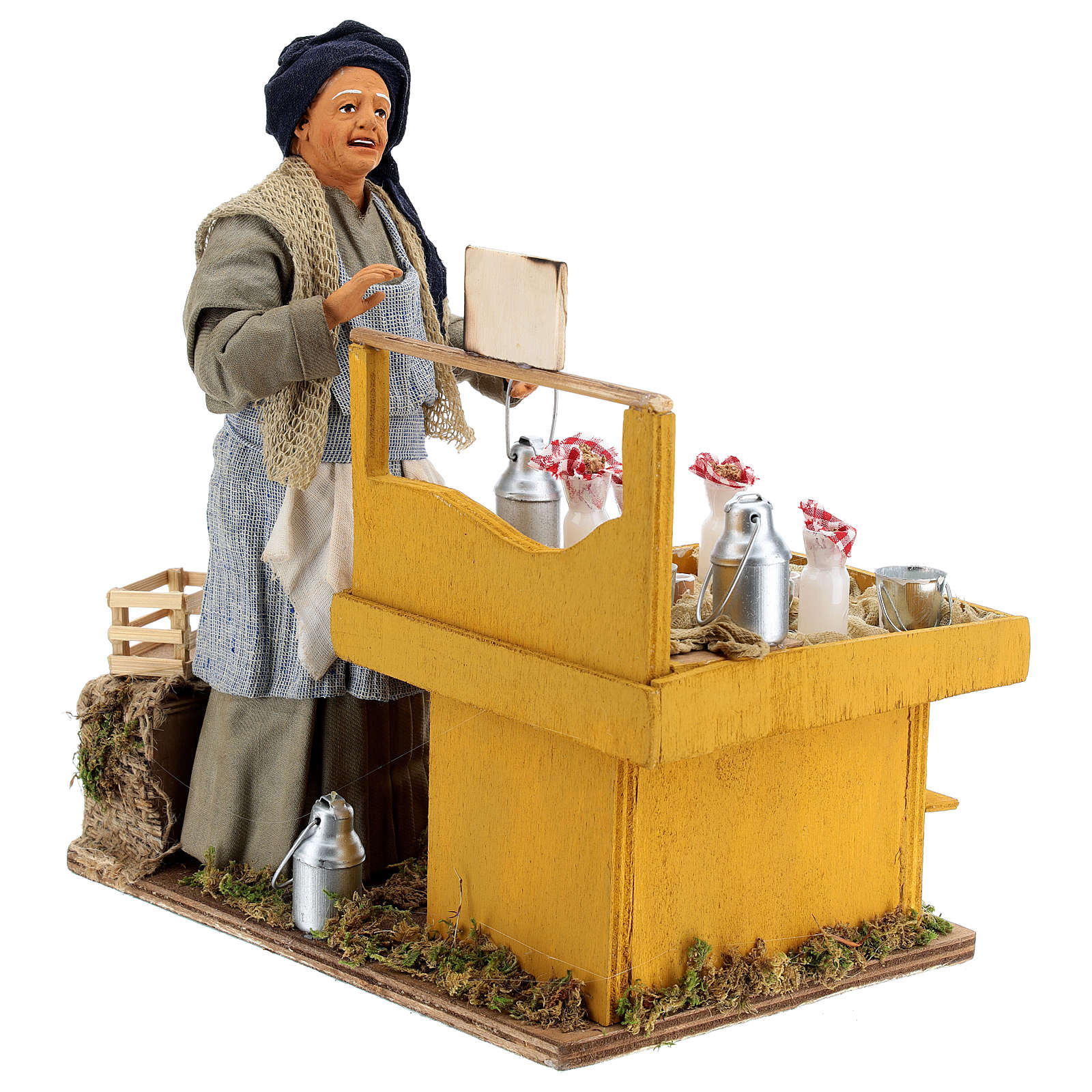 Moving milkmaid with stand and milk buckets 30 cm Neapolitan Nativity Scene 4
