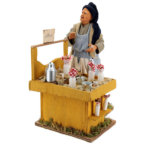 Moving milkmaid with stand and milk buckets 30 cm Neapolitan Nativity Scene 3