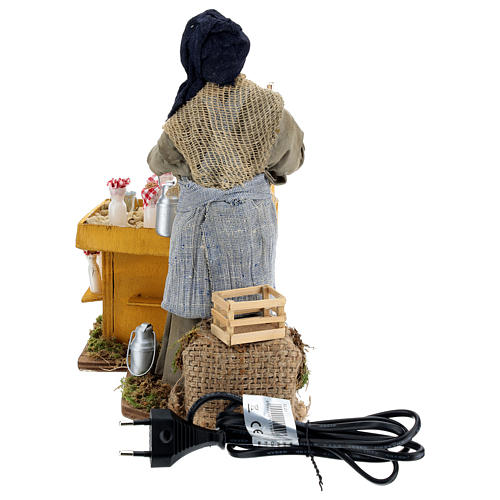 Moving milkmaid with stand and milk buckets 30 cm Neapolitan Nativity Scene 5