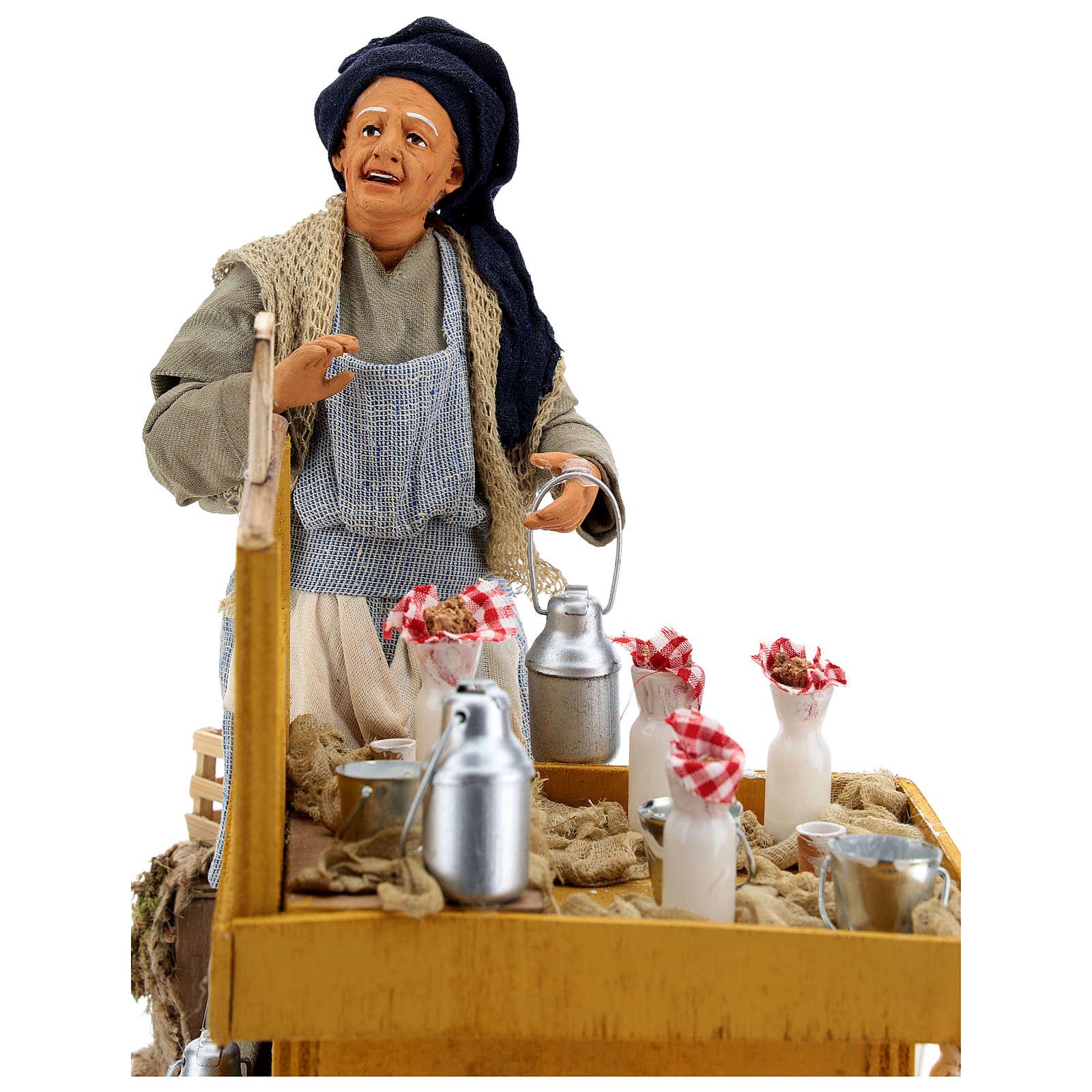 Movimento lattaia con banco e secchi di latte presepe di Napoli 30 cm 4
