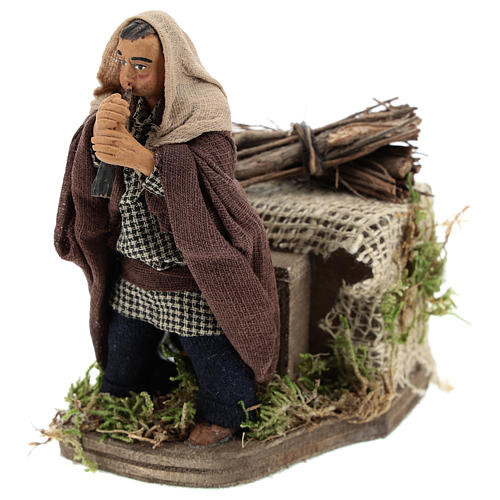 Moving piper Neapolitan Nativity Scene 10 cm 3