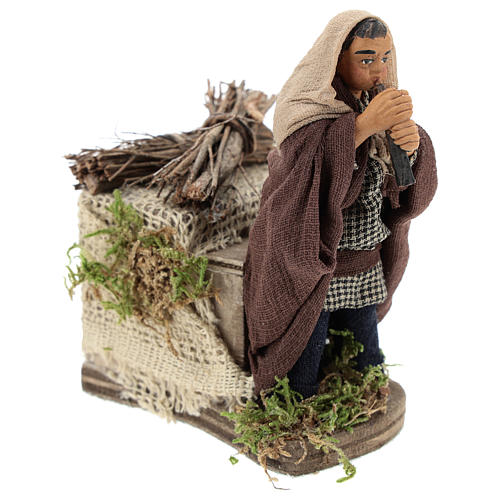 Moving piper Neapolitan Nativity Scene 10 cm 4