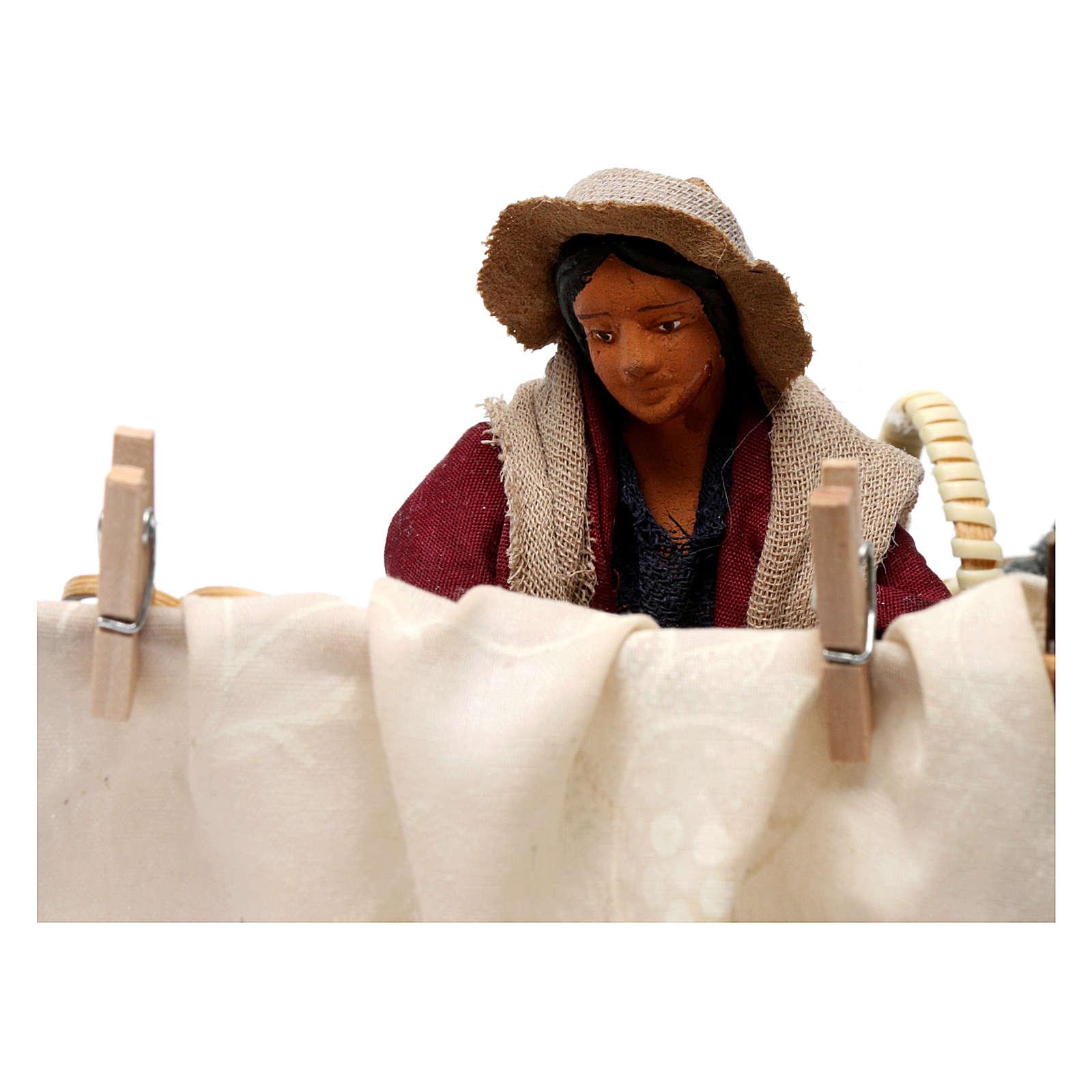 Movimento donna che batte panni presepe napoletano 12 cm 4