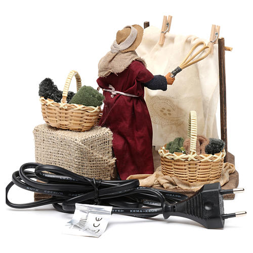 Moving Woman Hanging Clothes Neapolitan nativity 12 cm 5