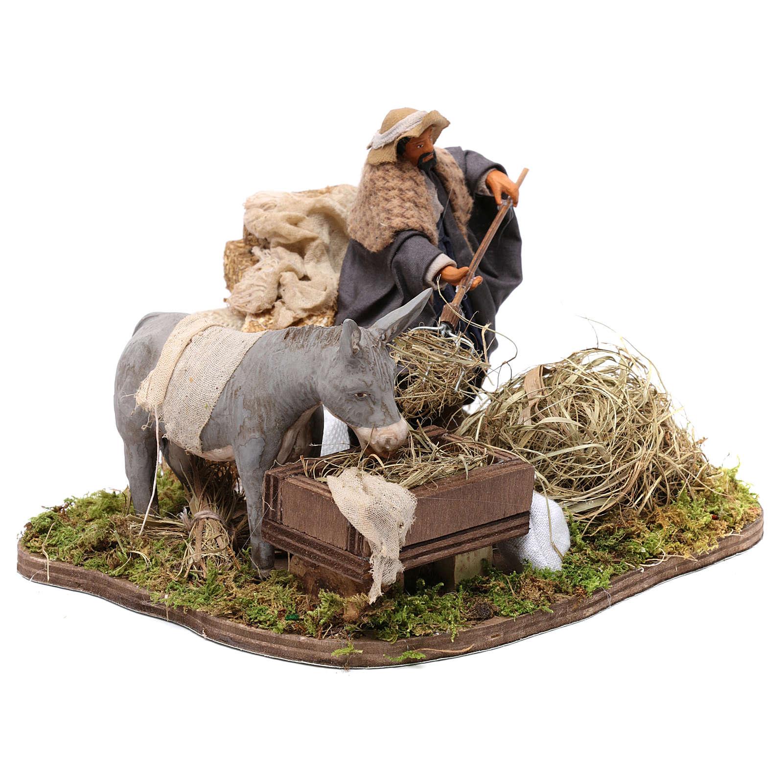 Movimento contadino e asino presepe di Napoli 12 cm 4