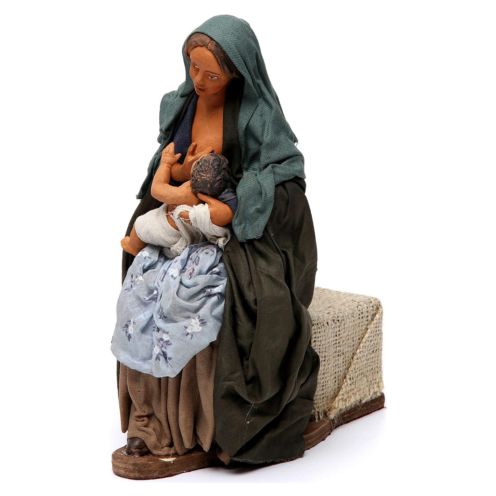 Donna che allatta il bambino presepe di Napoli 30 cm 4