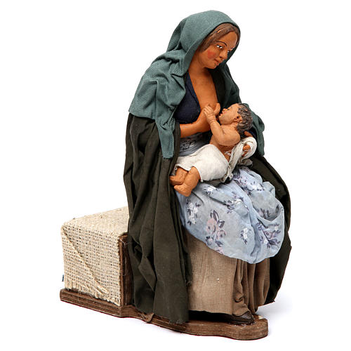 Donna che allatta il bambino presepe di Napoli 30 cm 3