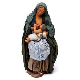 Presépio Napolitano: Mulher que amamenta o filho para presépio napolitano com figuras 30 cm  altura média