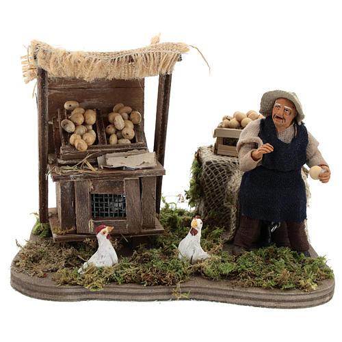 Moving egg seller Neapolitan Nativity Scene 10 cm 1