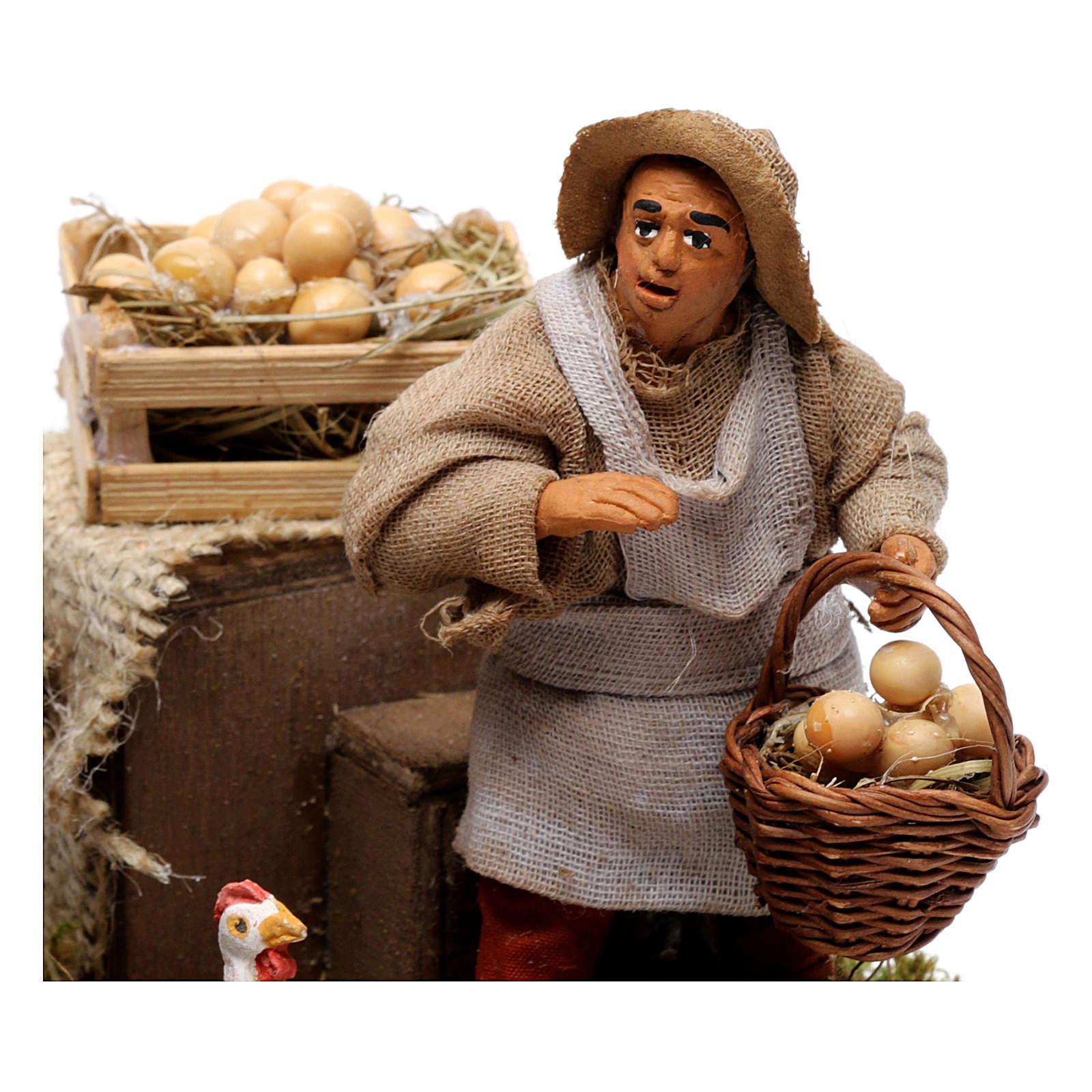 Movimento venditore di uova presepe napoletano 10 cm 4