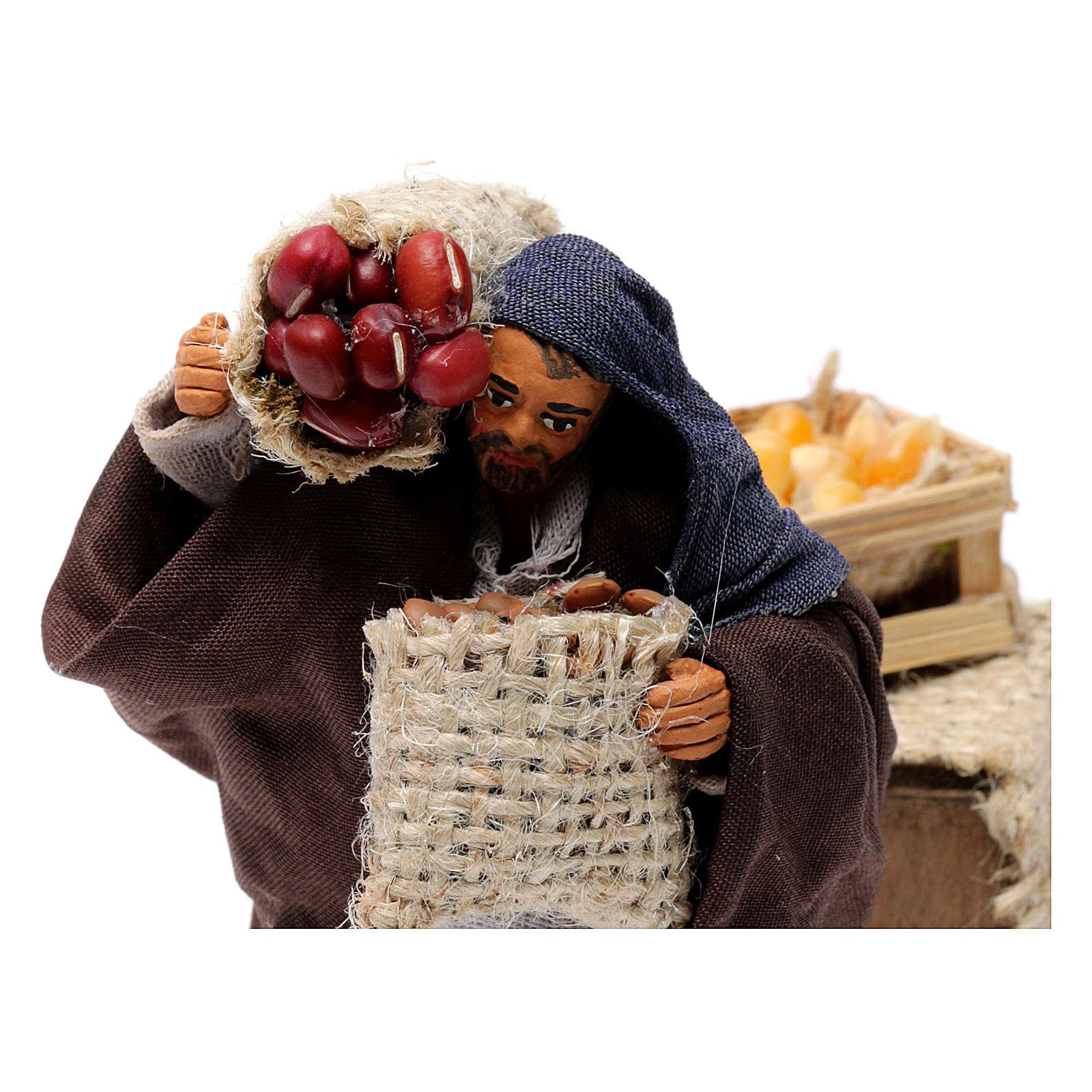 Movimento pastore con sacchi di semi presepe napoletano 10 cm 4