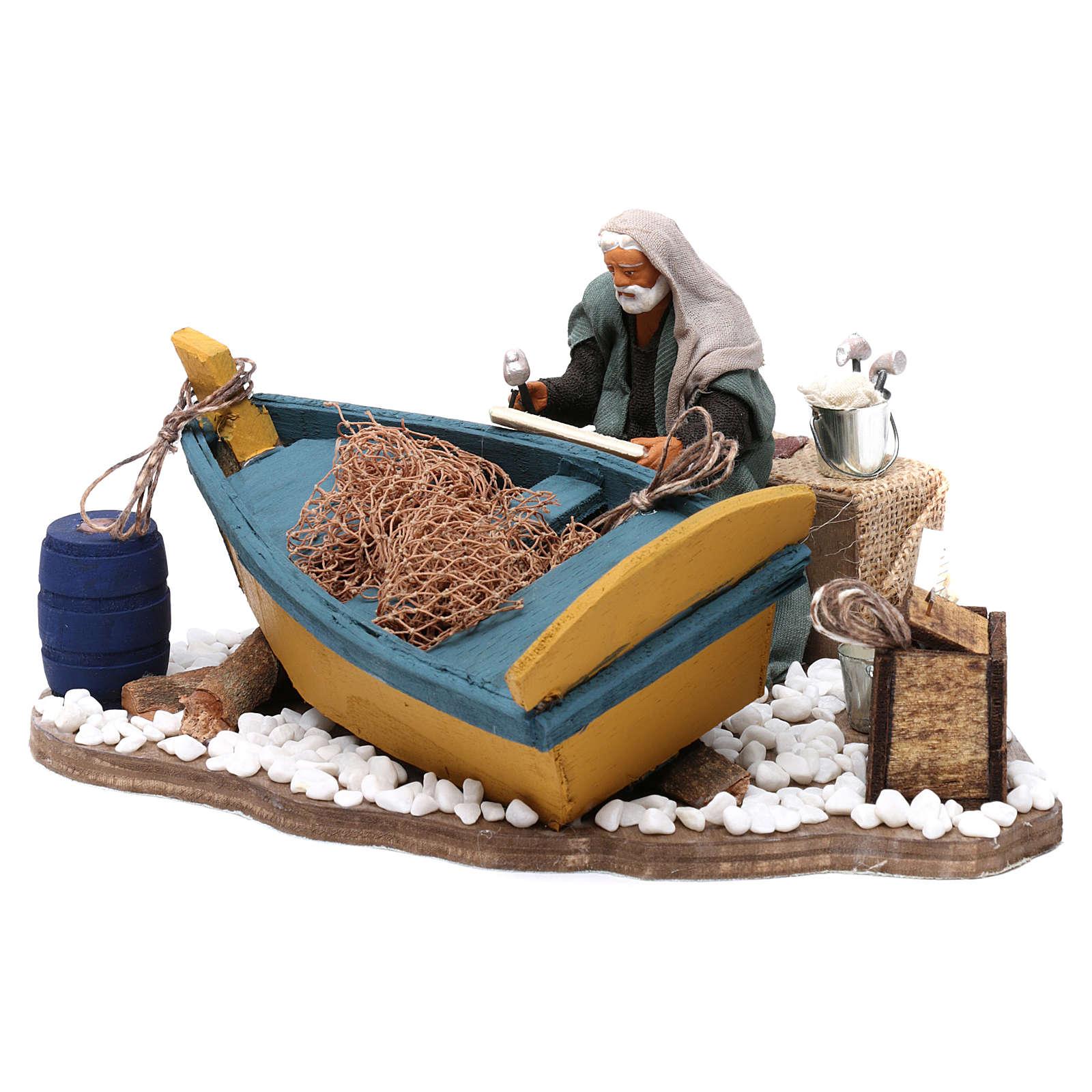 Movimento aggiusta barca presepe di Napoli 12 cm 4