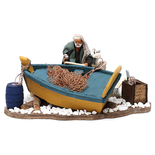 Movimento aggiusta barca presepe di Napoli 12 cm 1