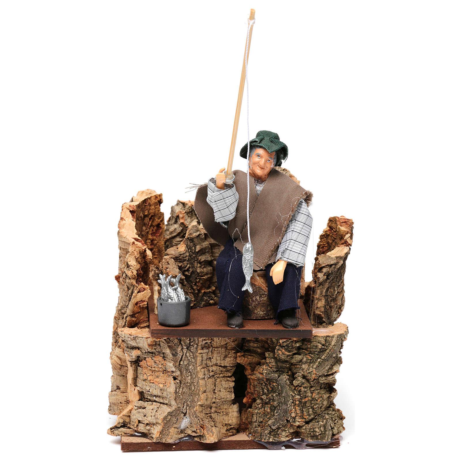 Pescador sobre escollo movimiento para belén 12 cm 3