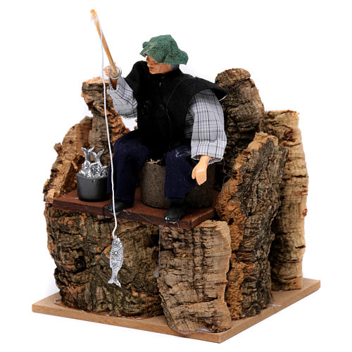 Pescador sobre escollo movimiento para belén 12 cm 2