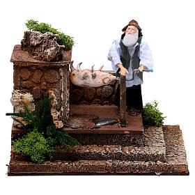 Figuras em Movimento para Presépio: Homem assando porco movimento presépio figuras altura média 12 cm