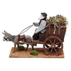 Figuras em Movimento para Presépio: Fazendeiro com carroça movimento presépio figuras altura média 12 cm