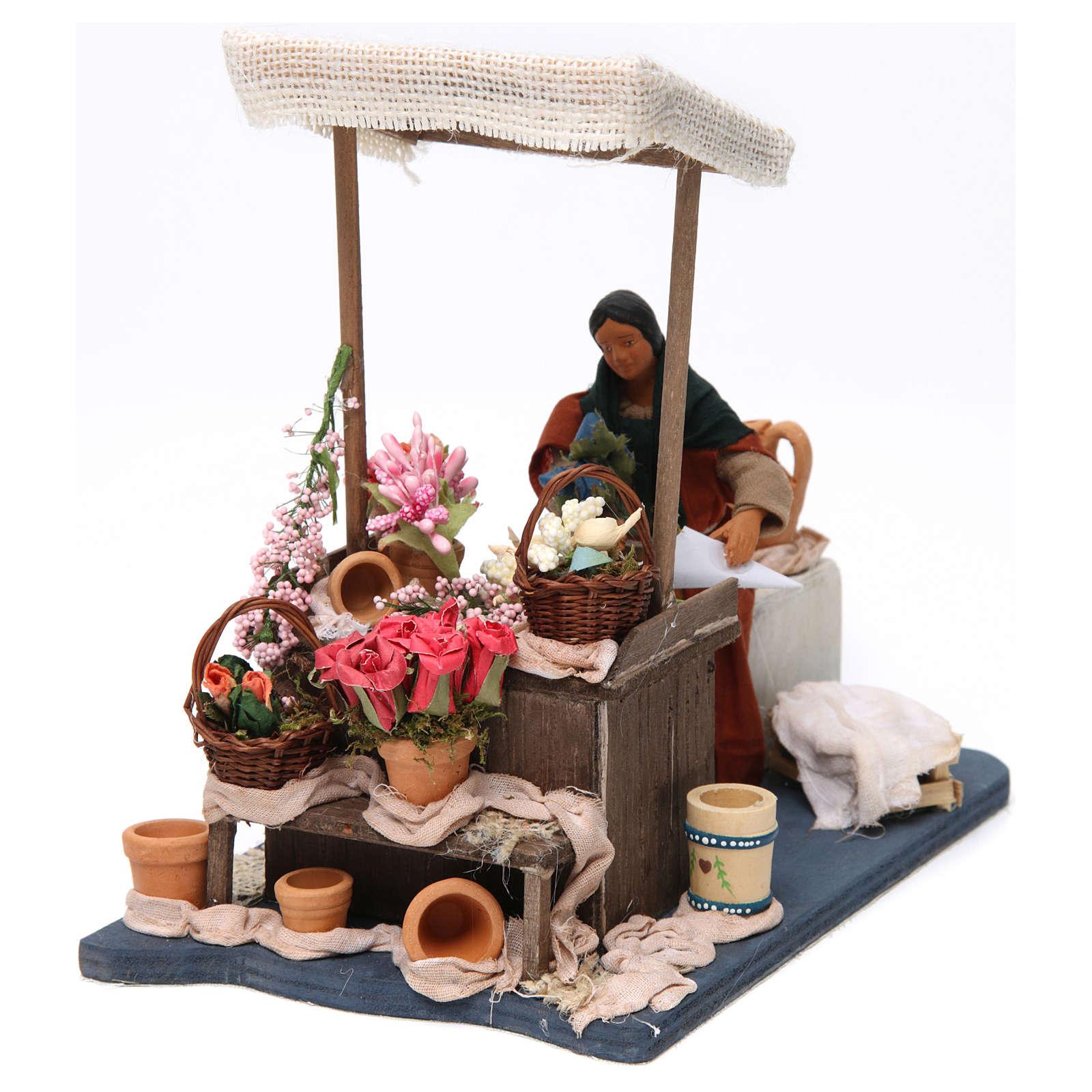 Florista en movimiento con mesa para belén napolitano de 12 cm de altura media 4