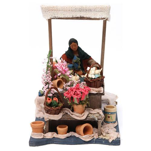 Florista en movimiento con mesa para belén napolitano de 12 cm de altura media 1