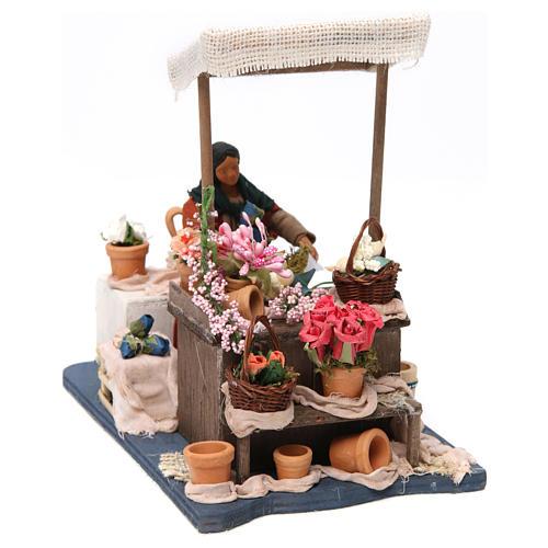 Florista en movimiento con mesa para belén napolitano de 12 cm de altura media 3