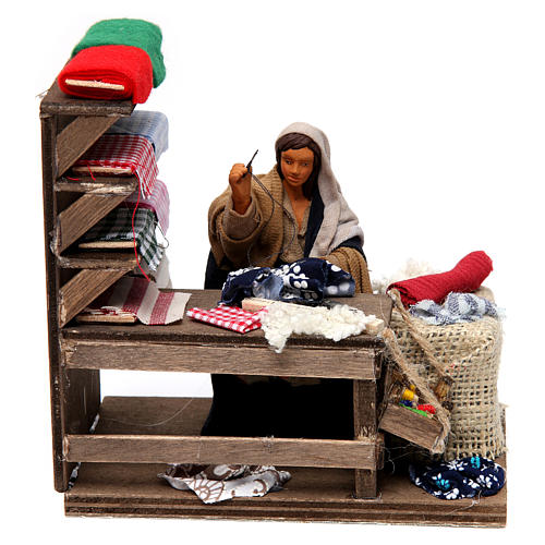Moving Seamstress with Workstation for Neapolitan nativity of 12 cm 1