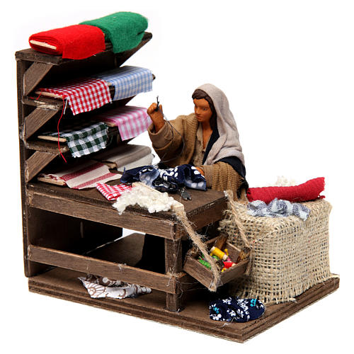 Moving Seamstress with Workstation for Neapolitan nativity of 12 cm 3