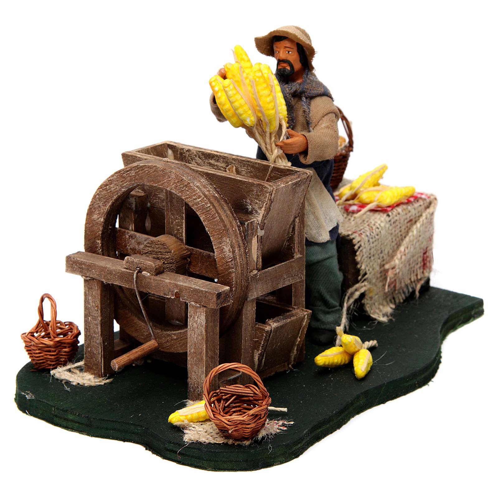 Hombre que desgrana maíz en movimiento para belén napolitano de 12 cm de altura media 4