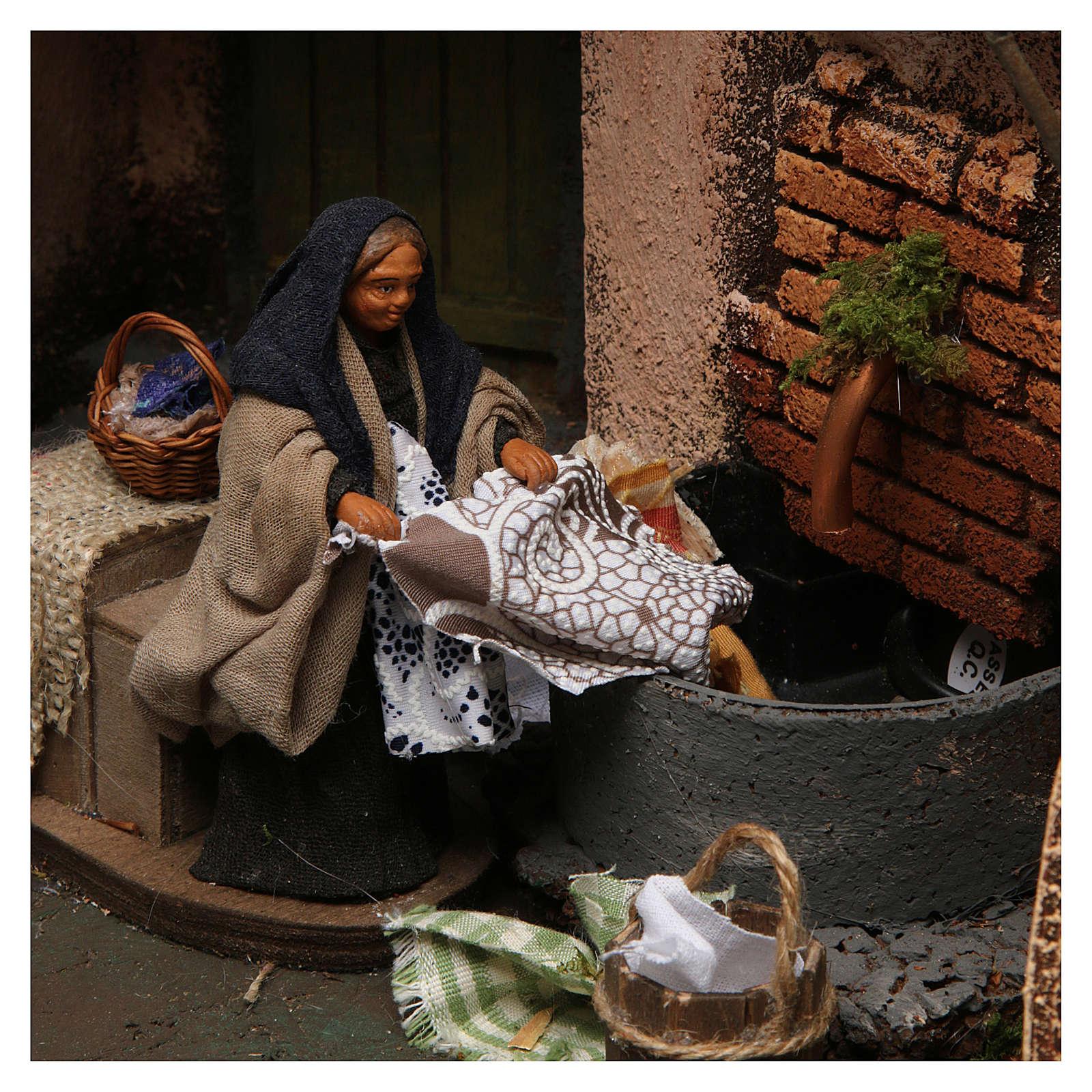 Escena lavandera con fuente para belén napolitano de 10 cm de altura media 4