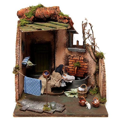 Laundry Scene with Standpipe for Neapolitan nativity 10 cm 2