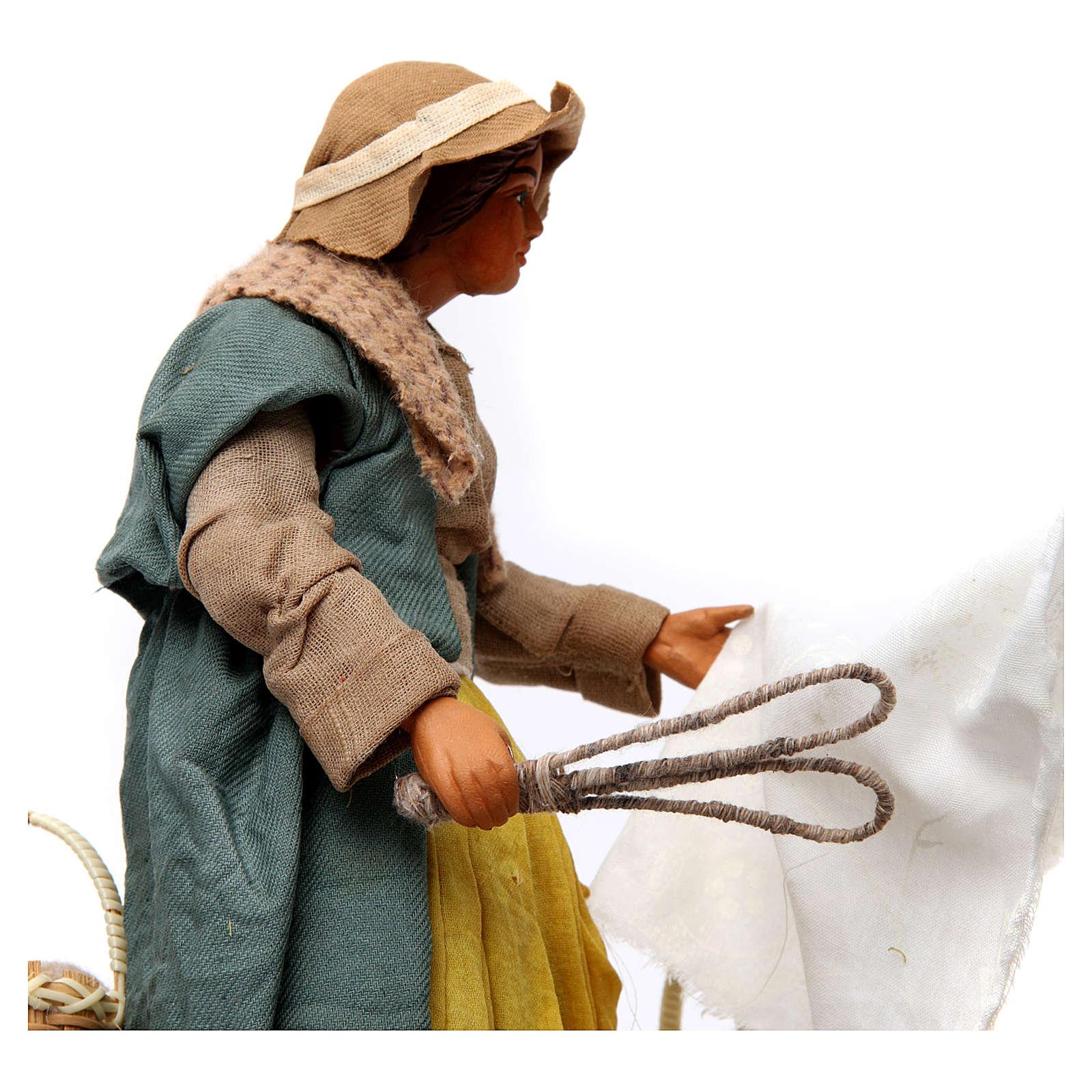 Movimento donna che batte i panni presepe di Napoli 24 cm 4