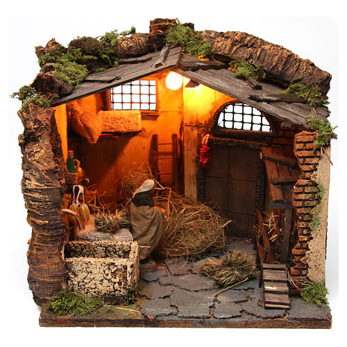 Farm Scene in a barn for 10 cm nativity 1