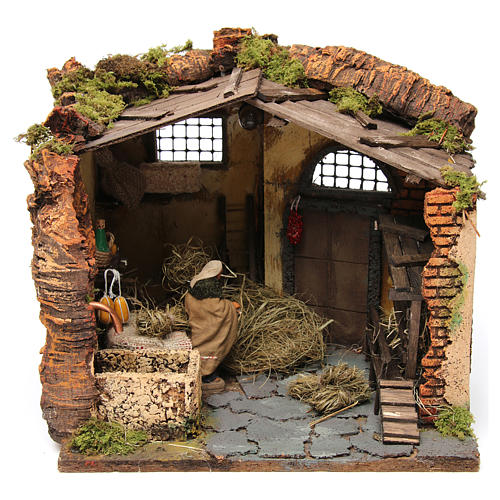 Farm Scene in a barn for 10 cm nativity 2