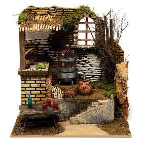 Figuras em Movimento para Presépio: Lagar de vinho miniatura com bomba de água e movimento presépio de Natal 25x25x20 cm