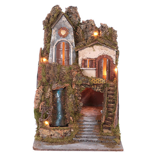 Nativity scene with lights and waterfall with movement 70x45x50 cm 1