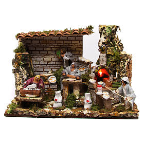 Figuras em Movimento para Presépio: Cena padaria 4 personagens movimento altura média 12 cm forno de lenha iluminado 30x45x30 cm presépio de Natal