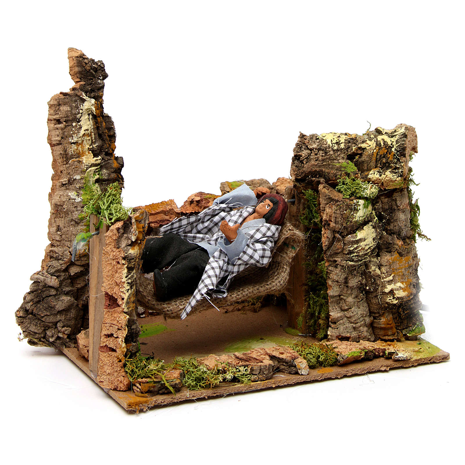 Man on hammock with movement 20x20x15 cm for 10 cm nativity scene 3