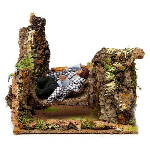Man on hammock with movement 20x20x15 cm for 10 cm nativity scene 1